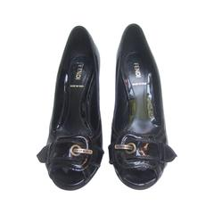 Fendi Italy Black Patent Leather Buckle Pumps 37.5