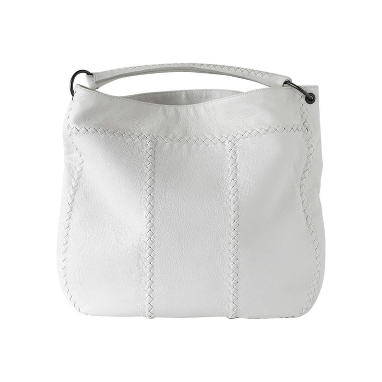 BOTTEGA VENETA Bag White Hobo Tote Carry by Hand or Over Shoulder 1