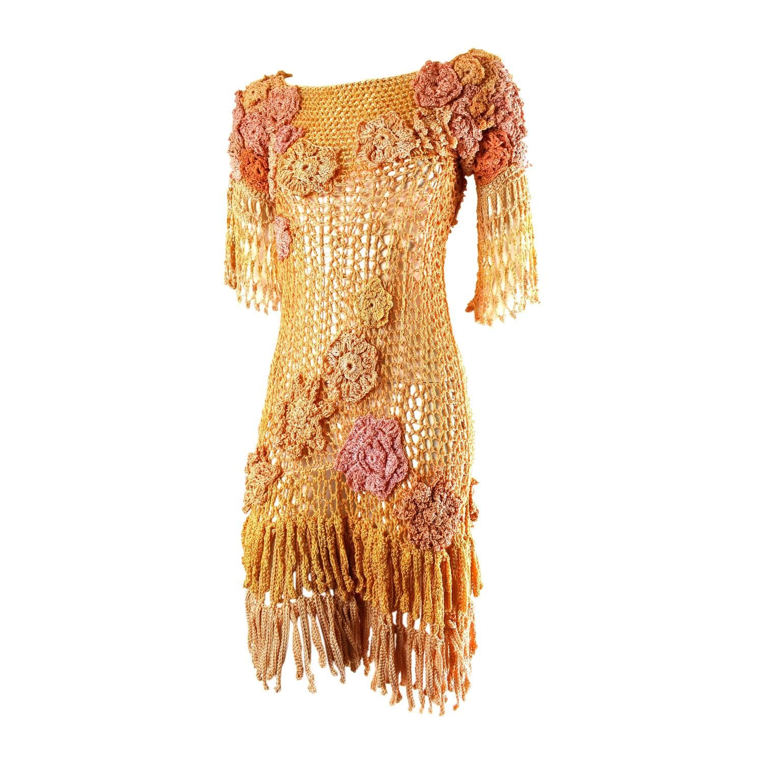 Hand Crochet : Vintage Hand Crochet Fringe Dress at 1stdibs