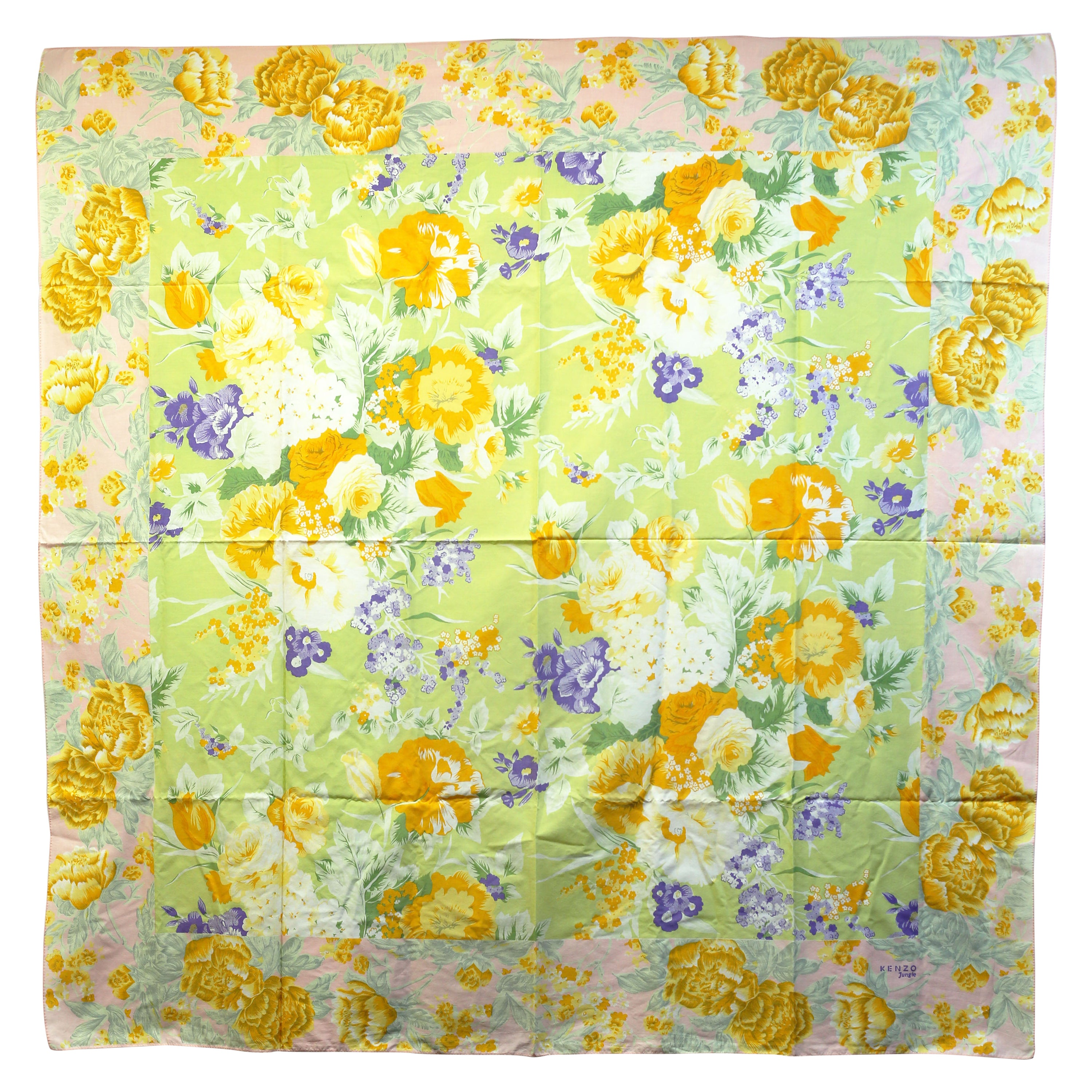 Kenzo  floral print pink and yellow beach  scarf