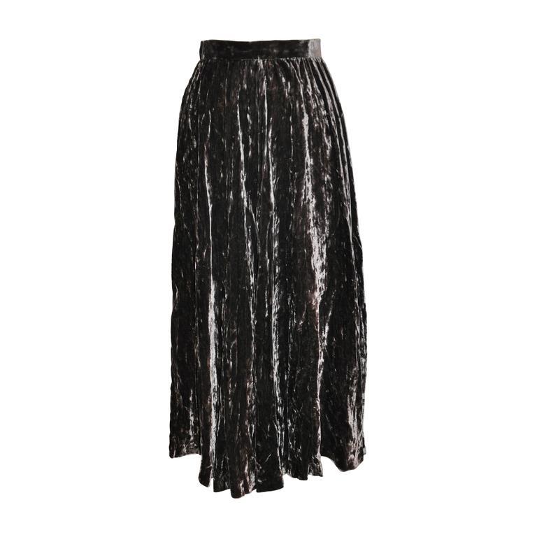 Yves Saint Laurent Crushed Brown Velvet Flared Accordion Maxi Skirt 1