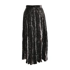 Yves Saint Laurent Crushed Brown Velvet Flared Accordion Maxi Skirt