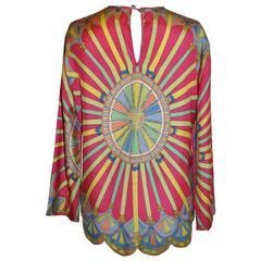 Multi-Color with Scallop Hemline Silk Pullover Top