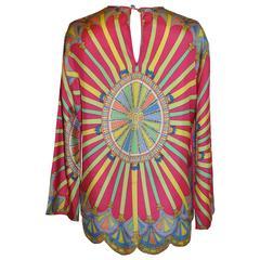 Multi-Color with Scallop Hemline Silk Pullover Top