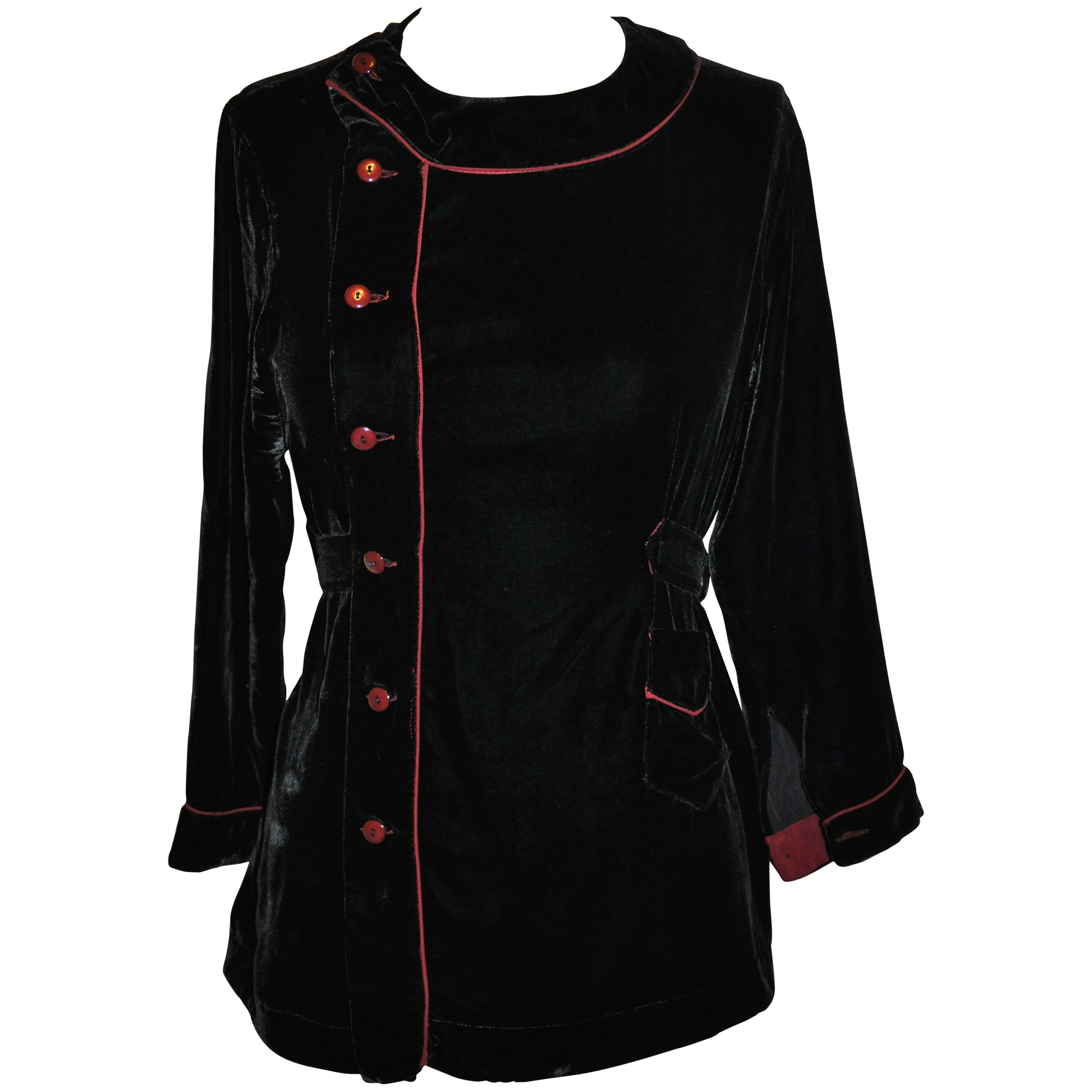 Jean Paul Gaultier Black Velvet with Piping Button Top