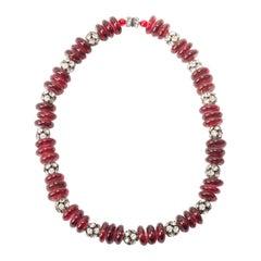 Maison Gripoix Ruby Pate de Verre Necklace