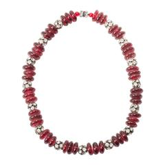 Maison Gripoix Ruby Pate de Verre Necklace