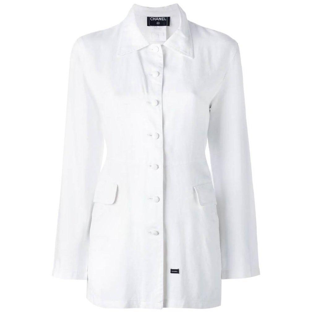 2000s Chanel White Jacket Shirt
