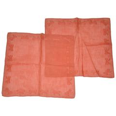 "Givenchy set of Coral Linen ""Bows"" Men's Handkerchief"