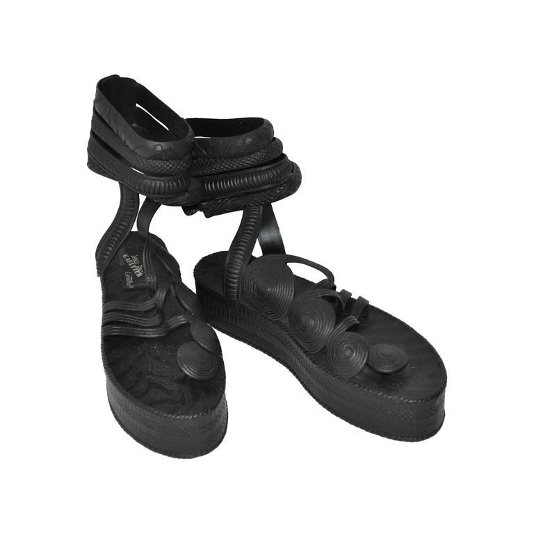 Jean Paul Gaultier Black Gladiator Sandals 1