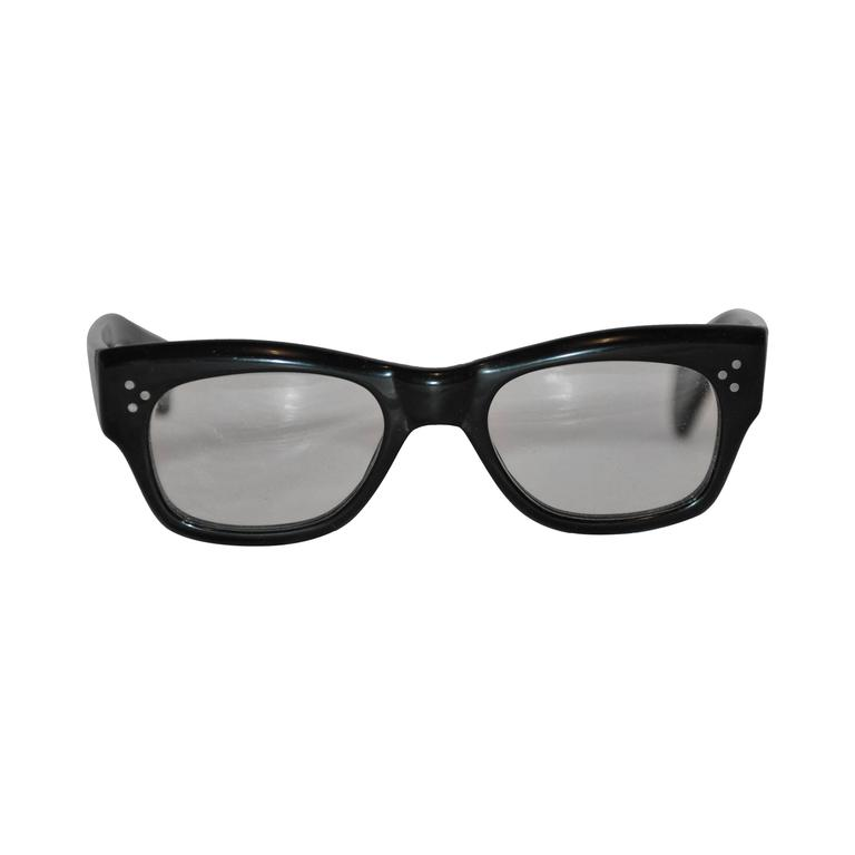 Oliver People Thick Black Lucite with Silver Hardware Studs Glasses For Sale