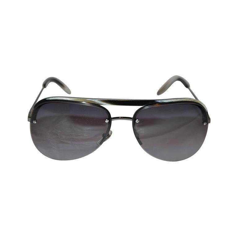 Yves Saint Laurent Black & White Horn Accent with Black Hardware Sunglasses