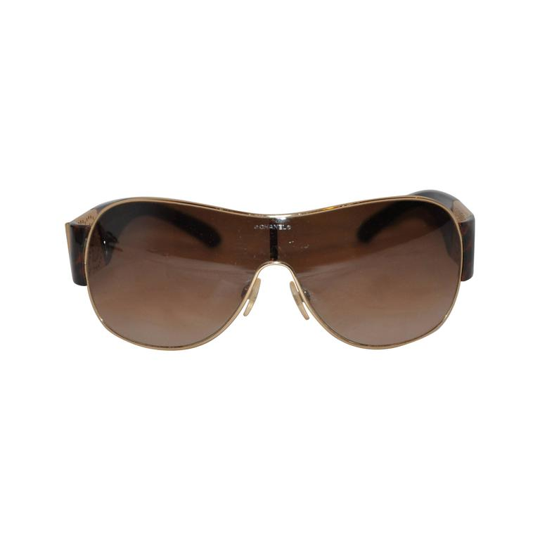 Chanel Bold Tortoise Shell with Gold Hardware Sunglasses
