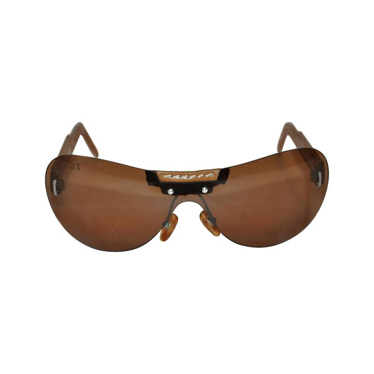 Louis Vuitton Detailed Stitched Leather Arms Sunglasses