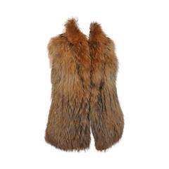 Yves Solomon Natural Raccoon Fur Vest