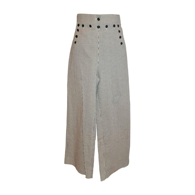 Ines de la Fressange Black & White Sailor-Style Trousers