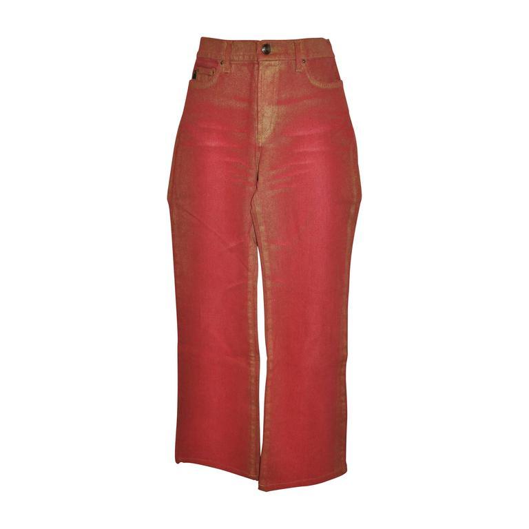 Roberto Cavalli Stretch Metallic Red 5-Pocket Style Jeans