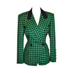 Escada  Green & Black Checkered Blazer