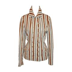 Dries Van Noten Shades of Beige Silk Stripe Double-Breasted Jacket