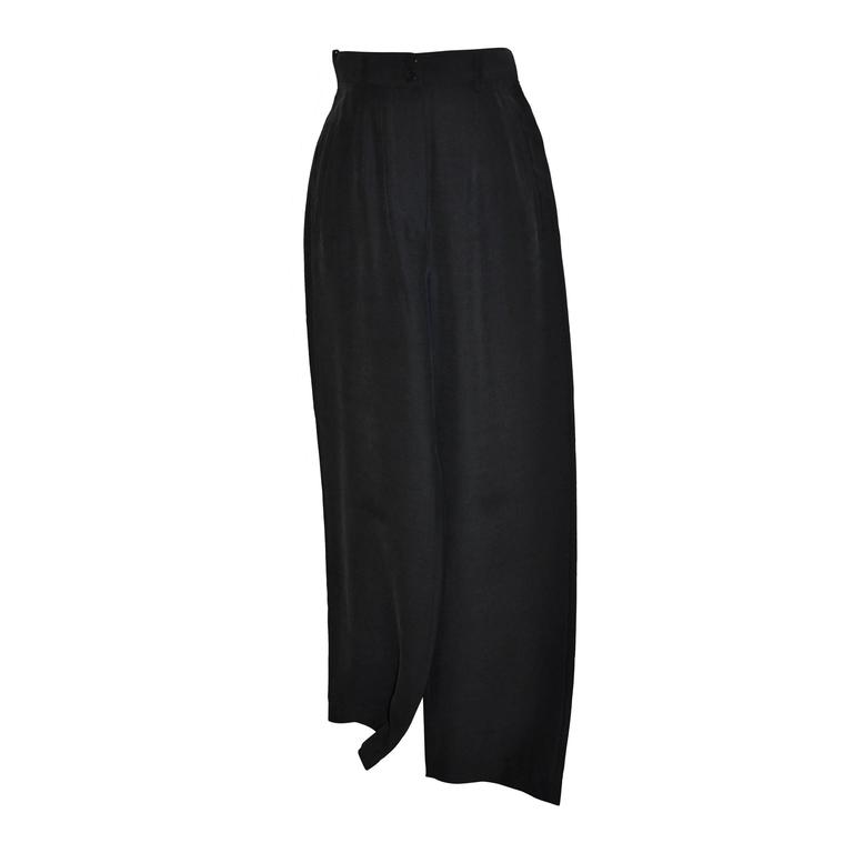 "Georgio Armani ""Boutique"" Black Silk High-Waisted Trousers"