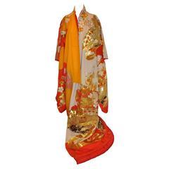 Multi-Color Embroidered Brocade Ceremonial Japanese Kimono