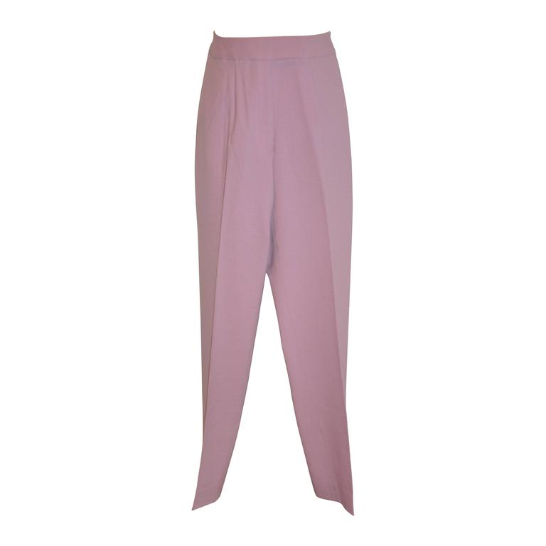 John Galliano Lavender Medium-Weight Wool Crepe Trousers