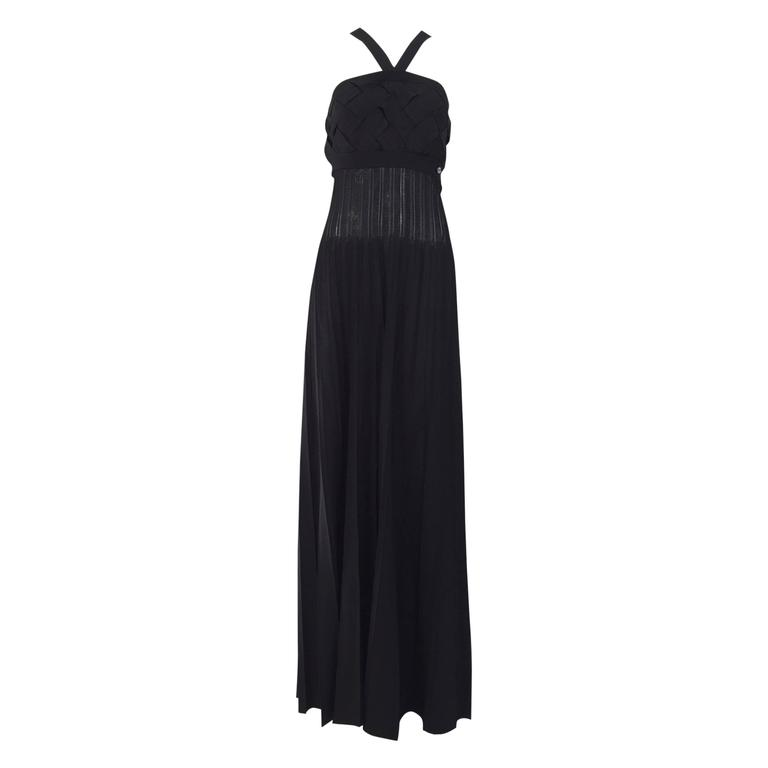 CHANEL Black Knit Criss Cross Maxi Vintage Dress
