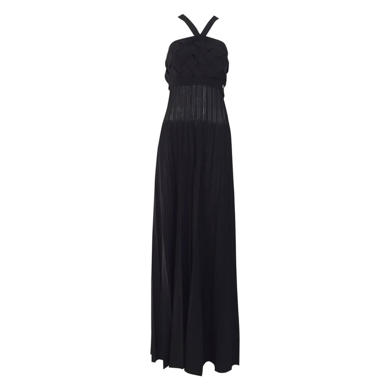 Chanel Black Knit Maxi Dress For Sale