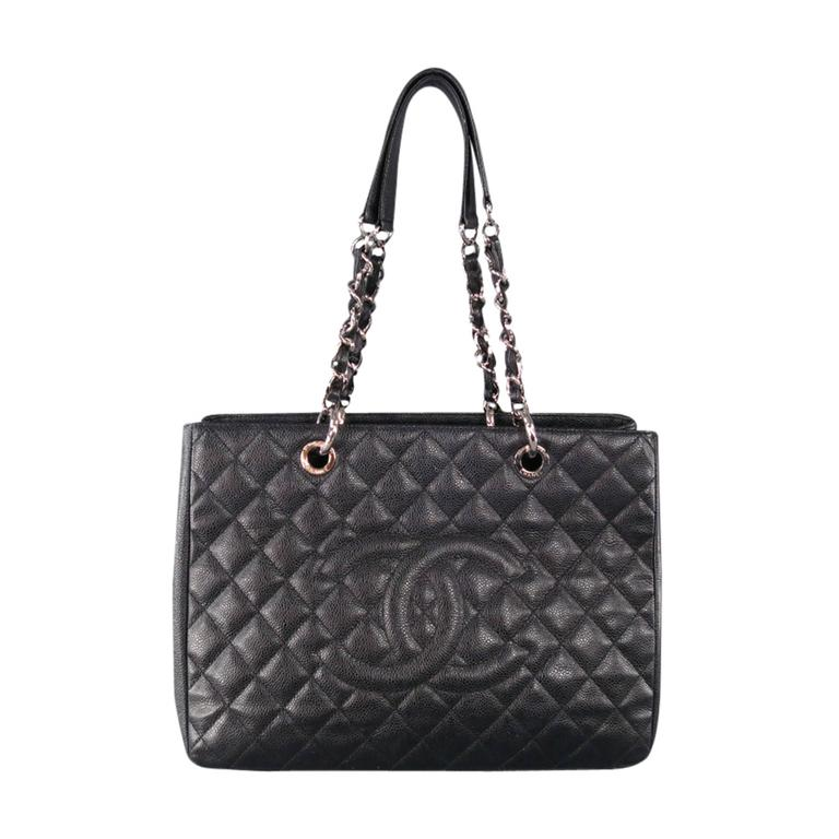 Chanel Black Leather Grand Per Quilted Chain Tote Bag For