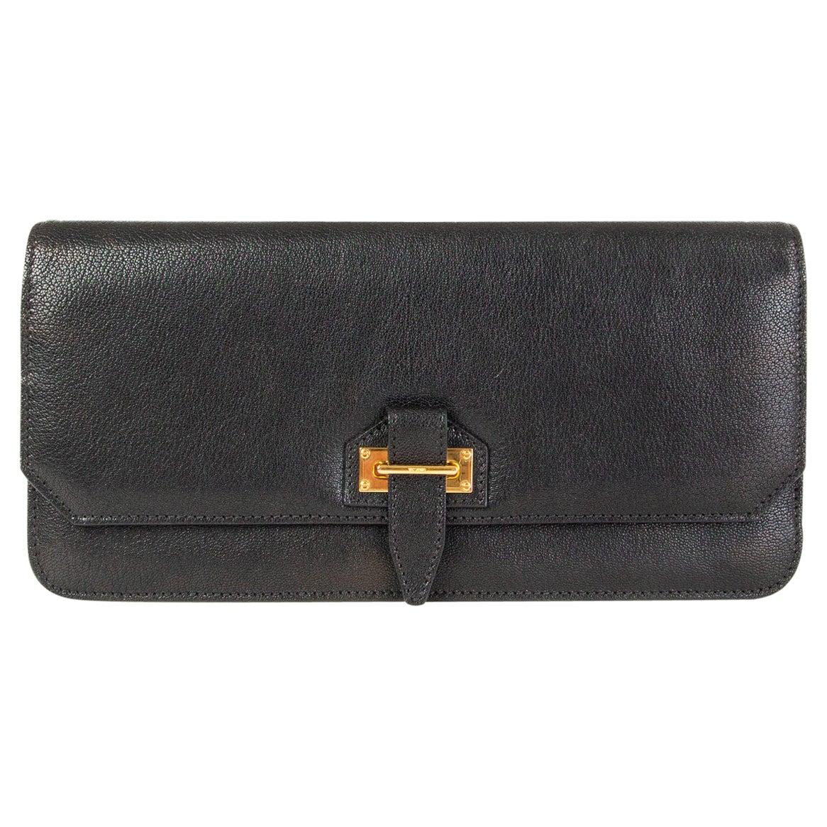 TOM FORD black leather Tab Flap Clutch Bag