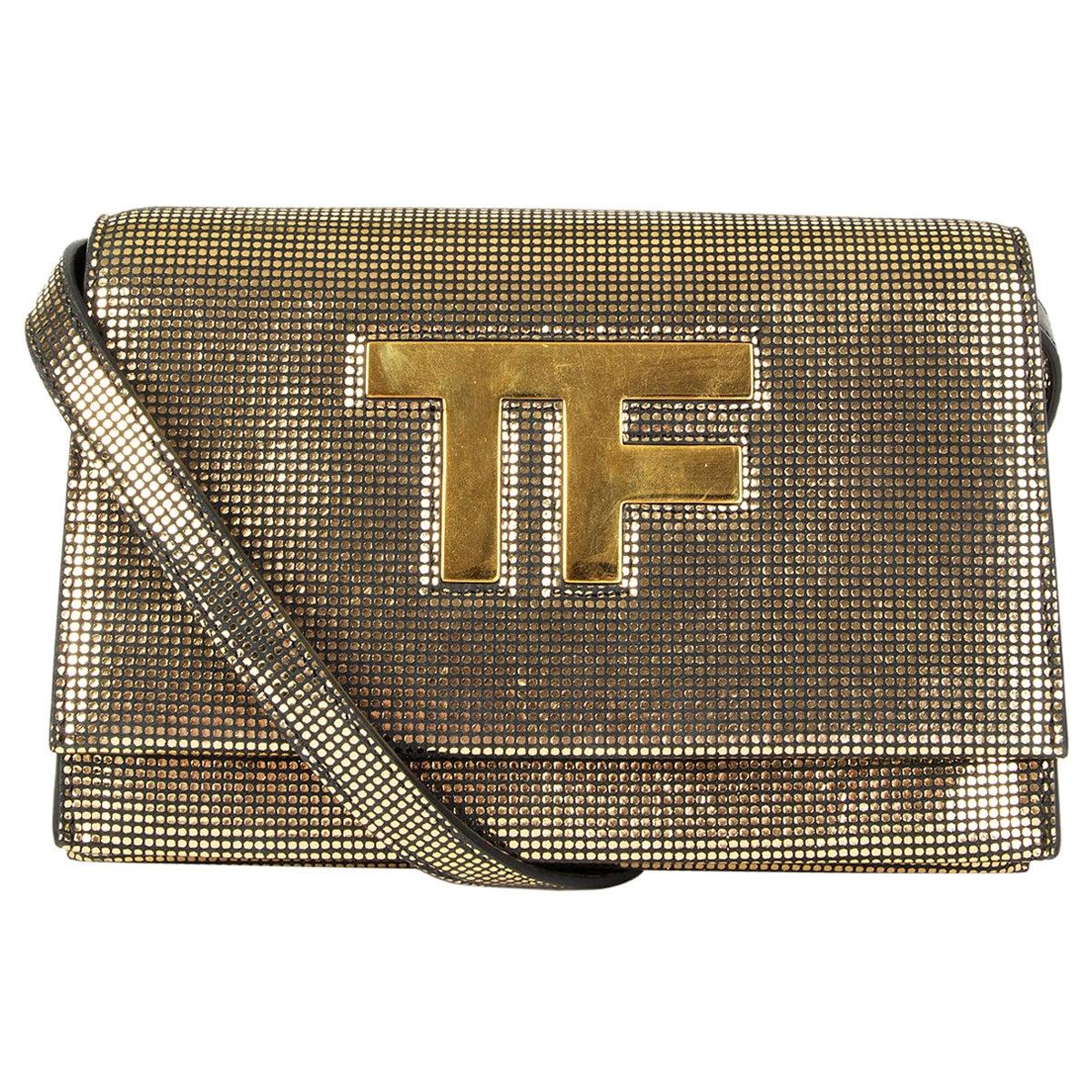 TOM FORD metallic gold leather TF Flap Crossbody Bag Clutch