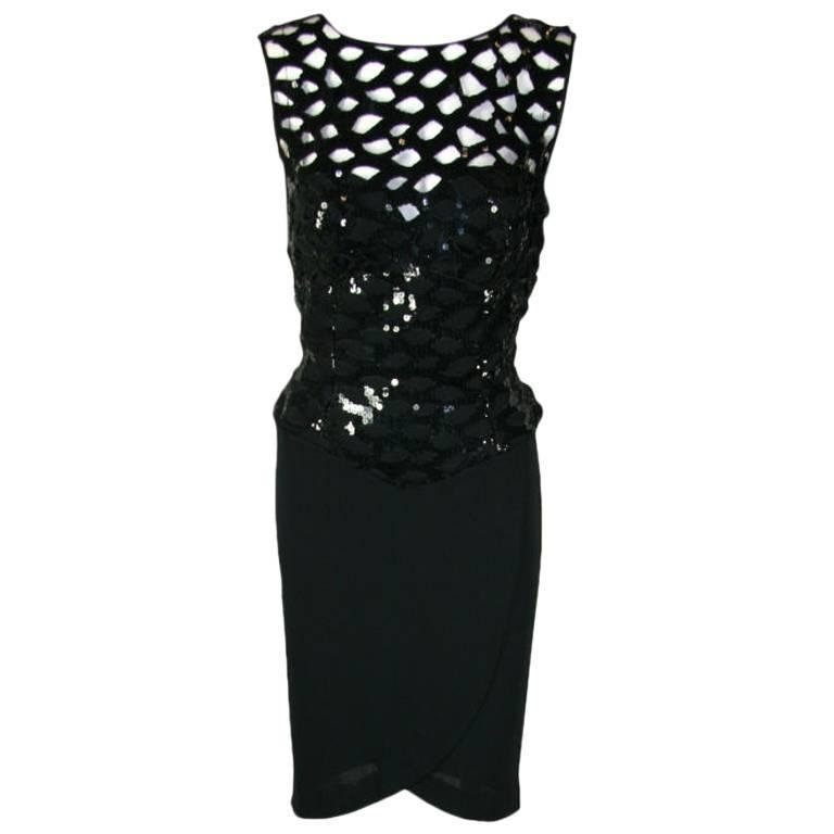 Vicky Tiel Black 1980s Sequined Peak-a-boo Cocktail Dress 1