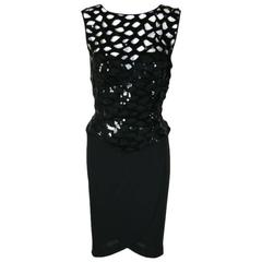 Vicky Tiel Black 1980s Sequined Peak-a-boo Cocktail Dress