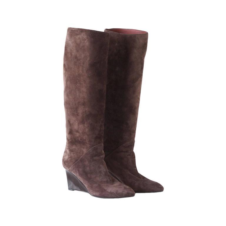 BOTTEGA VENETA boot patent wedge suede knee high 39 9  For Sale