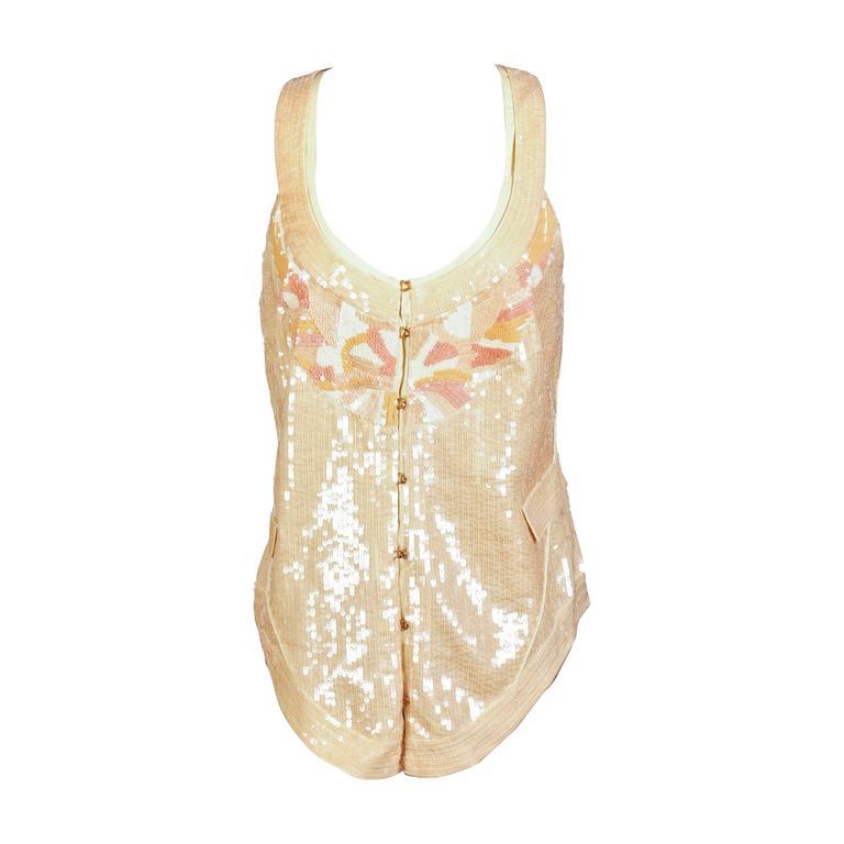 Roberto Cavalli Nude Sequin Embroidered Vest