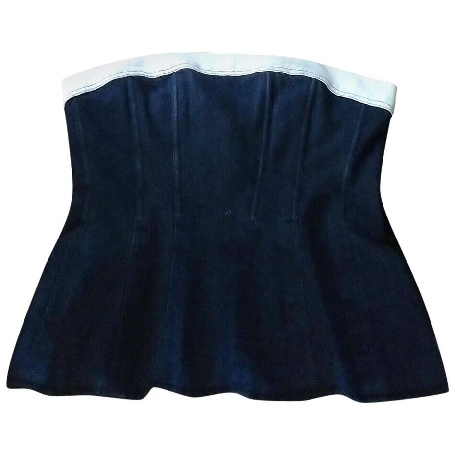 Vintage Chanel Navy Blue & White Denim Strapless Corset Bustier Top FR 34/ US 2