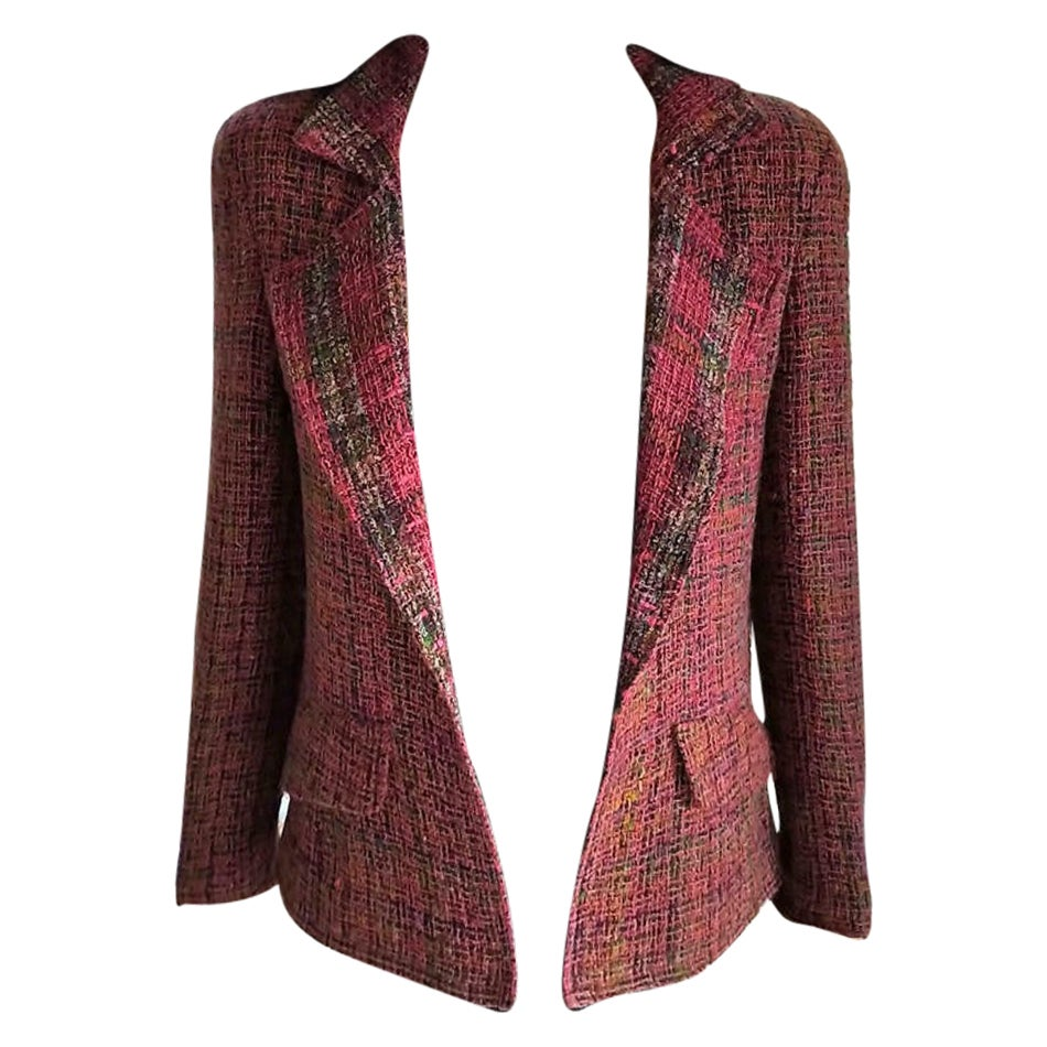 Vintage Chanel 1998 98A Pink, Plum, Fuschia, Tweed Jacket FR 36/ US 2 4