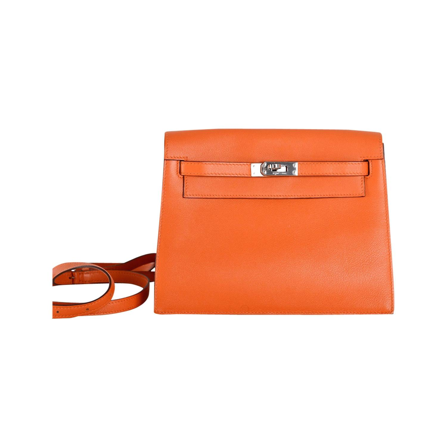 Hermes Kelly Danse Bag ORANGE SWIFT PALLADIUM JaneFinds For Sale ...