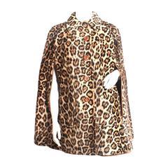 Faux Leopard Fur Cape