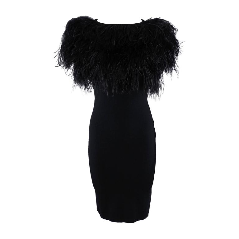 Giambattista Valli Black Ostrich Feather Trim Dress At 1stdibs