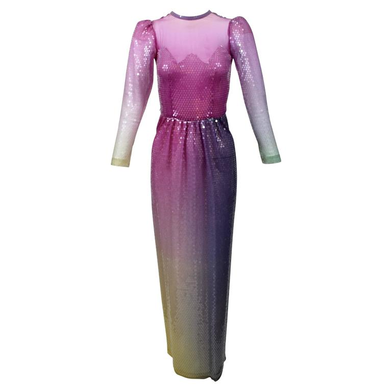 Vintage Loris Azzaro Custom Couture Ombre Sequin Gown  For Sale