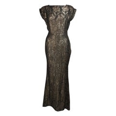 """1930's Bullocks """"The Evening Room"""" Gold and Black Lame Gown Size 8"""