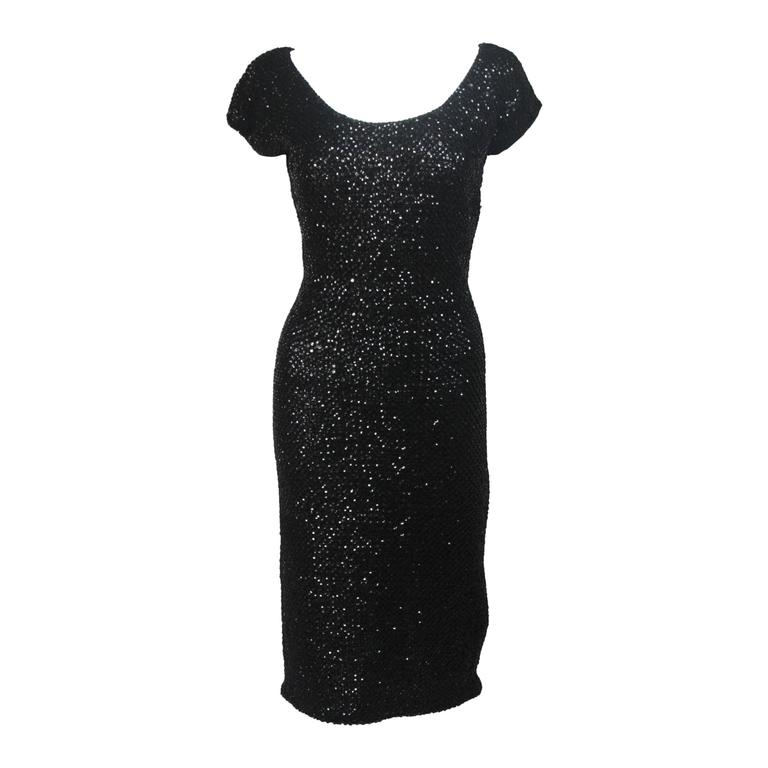 Gene Shelly Black Knit Wool Cocktail Dress with Sequin Embellishment