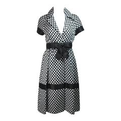 Geoffrey Beene Black and White Polka Dot Dress with Satin Trim Size Small
