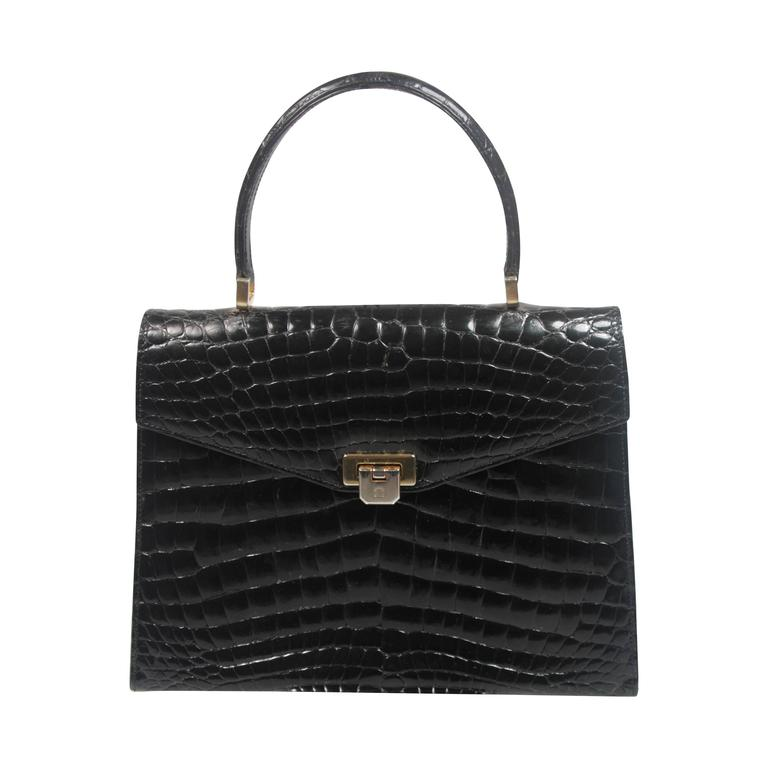 Amir Italy Black Crocodile Top Handle Purse For Sale