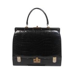 "Koret Very Rare ""Mallette"" Black Crocodile Structured Handbag"