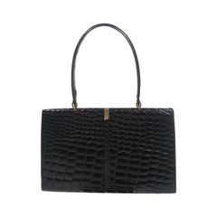 Barnes Shoe Salon Black Crocodile Top Handle French Purse with Gold Hardware
