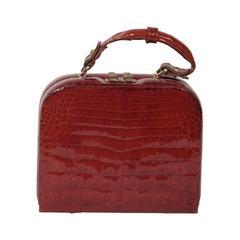 VINTAGE Italian Cognac CROCODILE SKIN Top Handle BOX BAG Purse HANDBAG