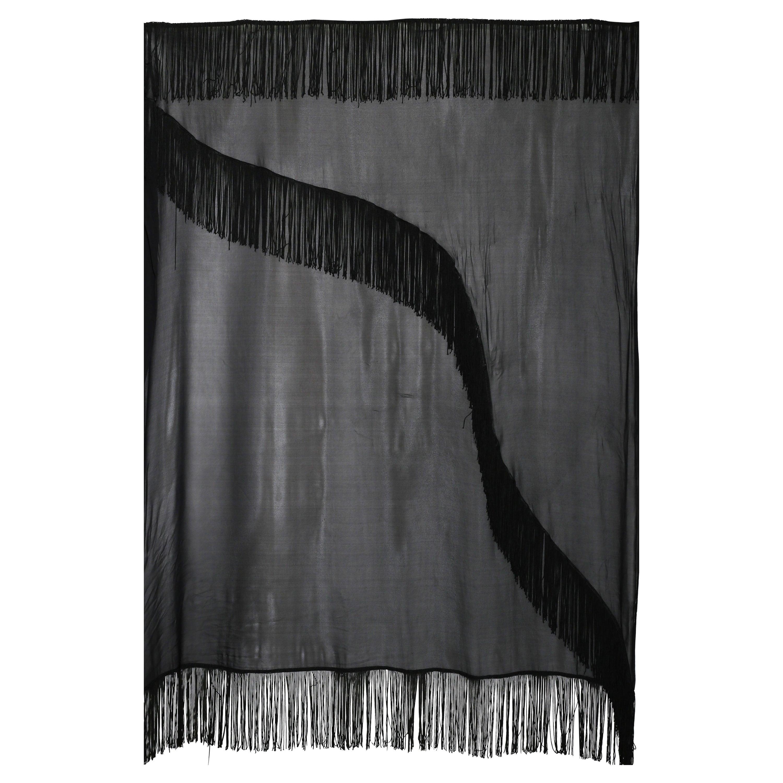 Giorgio Armani black  silk chiffon fringed shawl 1990