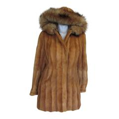 exclusive hooded fur coat with fox ruff